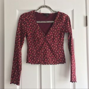 NWOT forever 21 long sleeve purple floral shirt